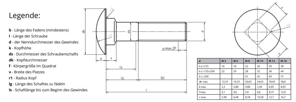 Muttern und U-Scheiben L/änge 20-200mm Auswahl 10x M8x150 10 St/ück Schlossschrauben M8 x 150 Flachrundkopfschrauben